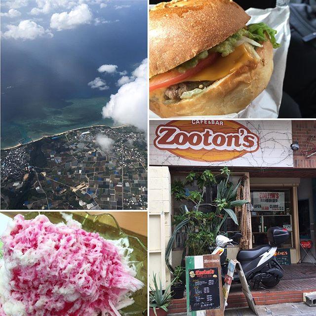 真夏のような暑さ(^_^;)かき氷を食べてひと休み♪沖縄で最後の食事は(^ ^)ハンバーガー #沖縄 #家族旅行 #真夏のように暑い #かき氷 #ひと休み #ハンバーガー #健康整体の家つみき #健康整体