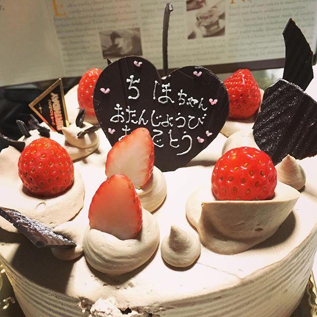2日遅れのbirthday cake笑笑ホールで!36才になっても、ケーキを食べるときはワクワクするありがとう♪